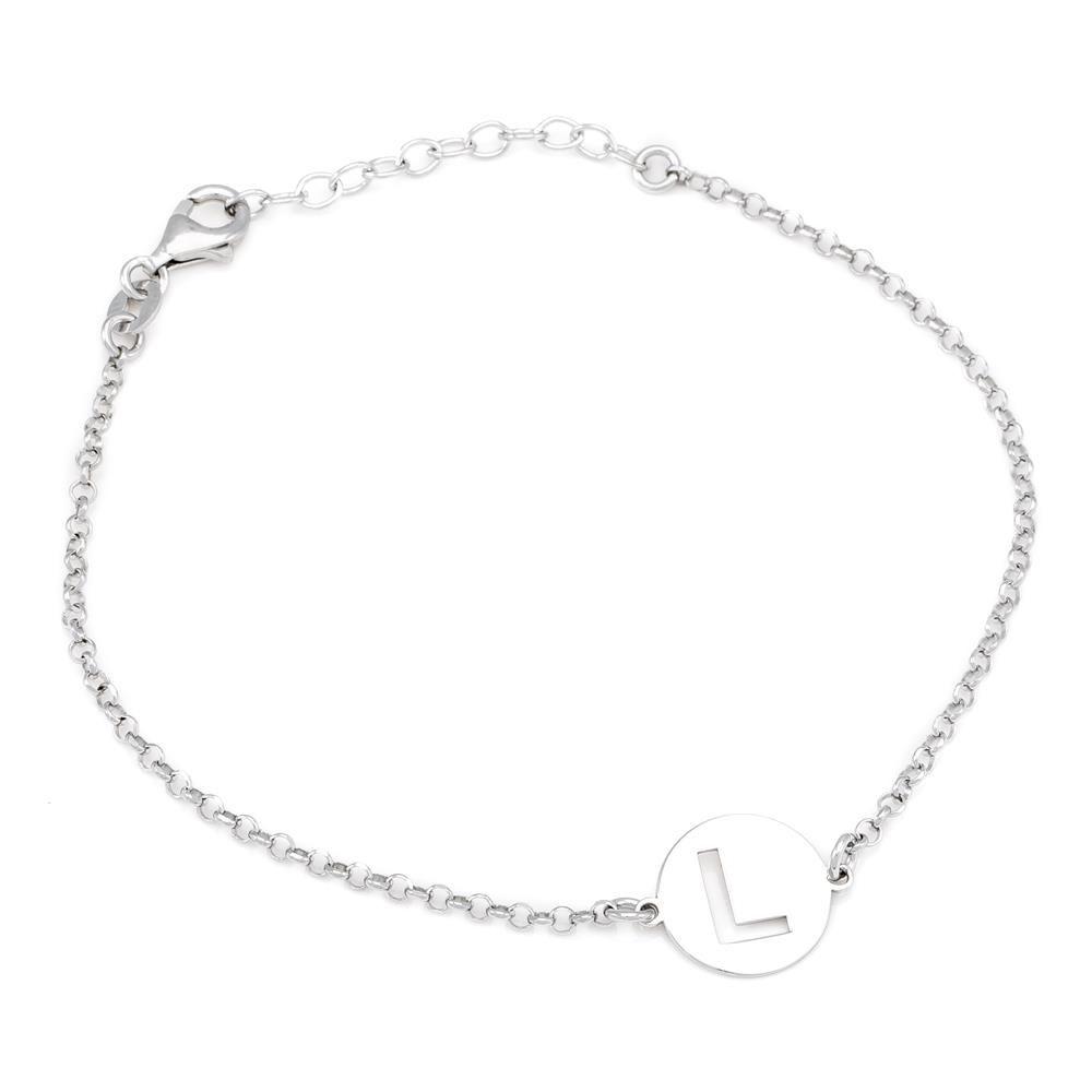 Paclo 15MY12COBR999 argento ag 925 Bracciale Galvanica Rodiata Lettera L 17 piu 3cm