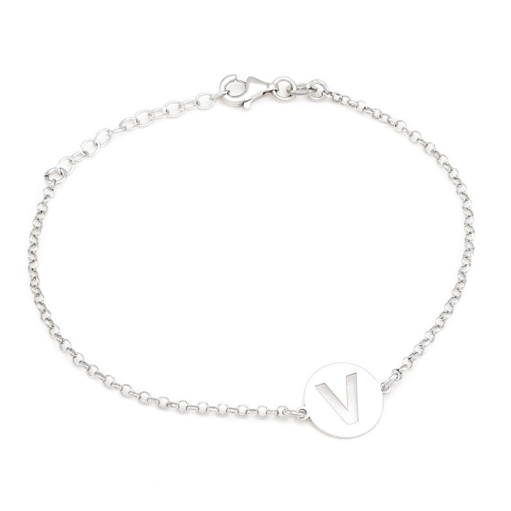 Paclo 15MY18COBR999 argento ag 925 Bracciale Galvanica Rodiata Lettera V 17 piu 3cm