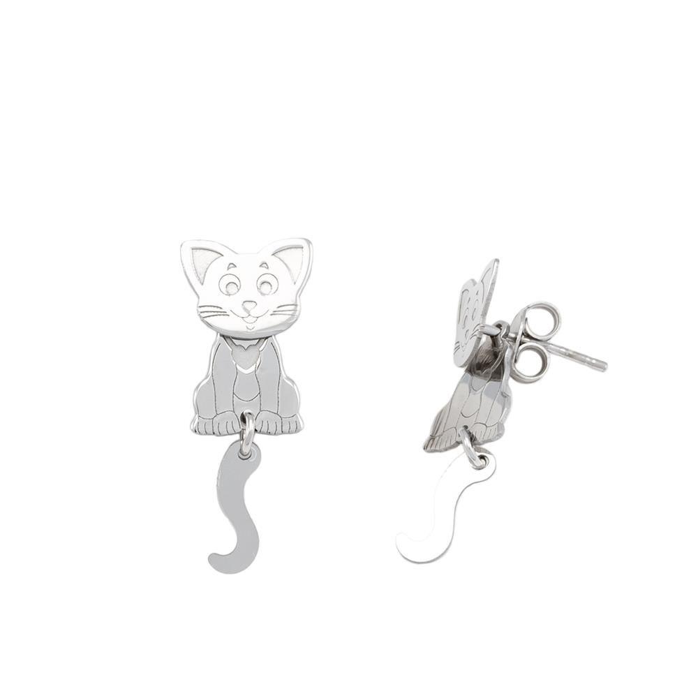 Paclo 16A014PEER999 argento ag 925 Orecchini Galvanica Rodiata Gatto 2cm