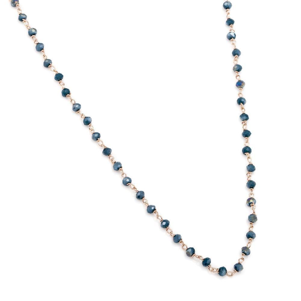Paclo 16ES55CYNP999 argento ag 925 Collana Galvanica Rose Pietre Sintetiche 80cm