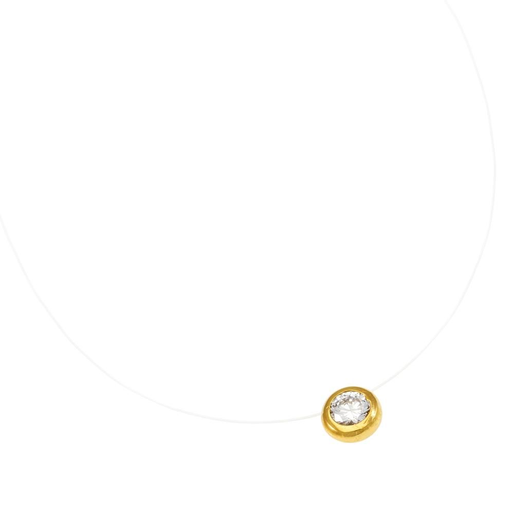 Paclo 16LZ01IPND999 argento ag 925 Collana Galvanica Dorata Zircone Bianco Lenza Trasparente 39cm