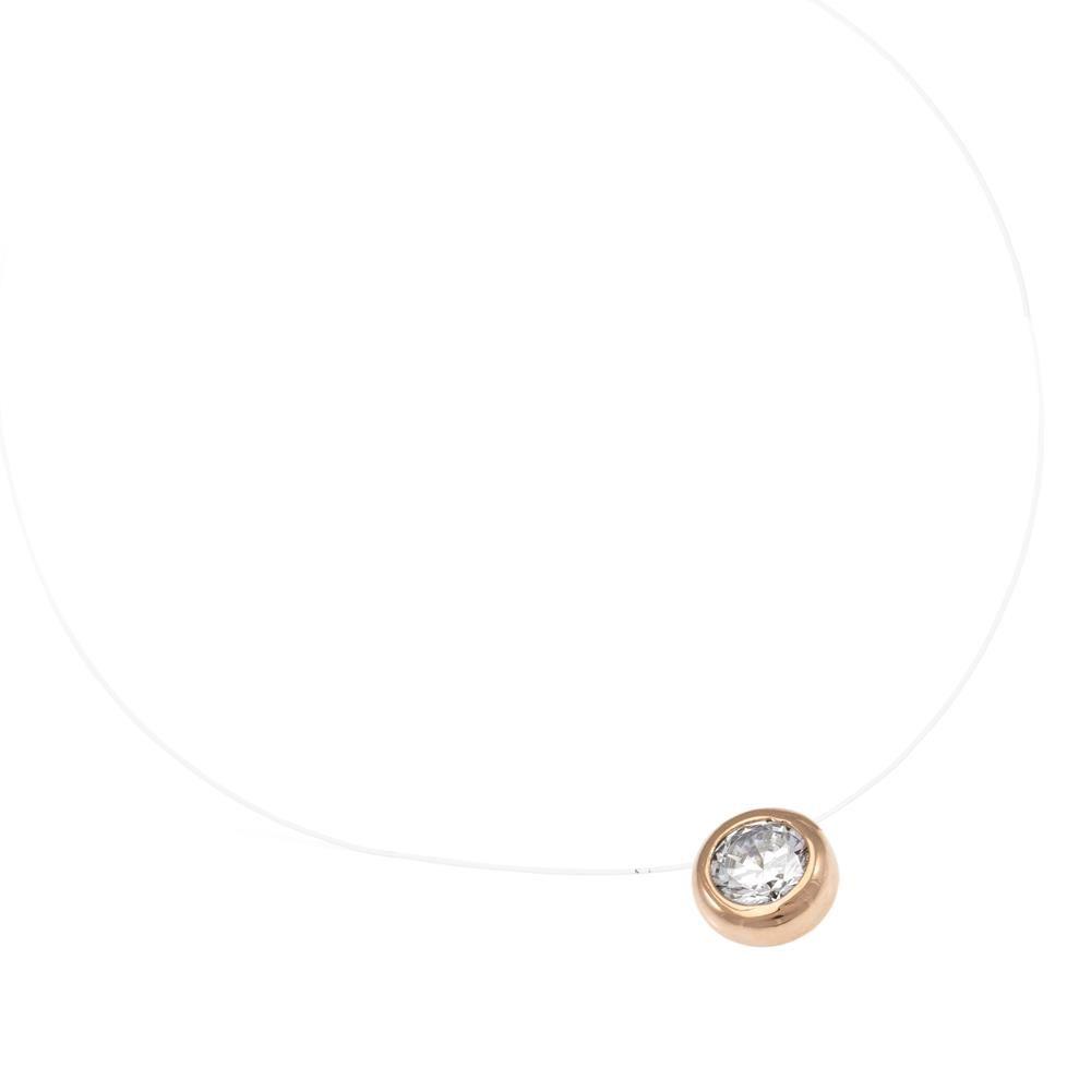 Paclo 16LZ01IPNP999 argento ag 925 Collana Galvanica Rose Zircone Bianco Lenza Trasparente 39cm