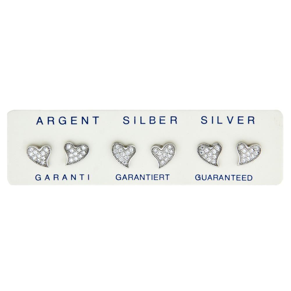Paclo 11CU62IPER999 argento ag 925 Orecchini Galvanica Rodiata Zircone Bianco Cuore 07cm