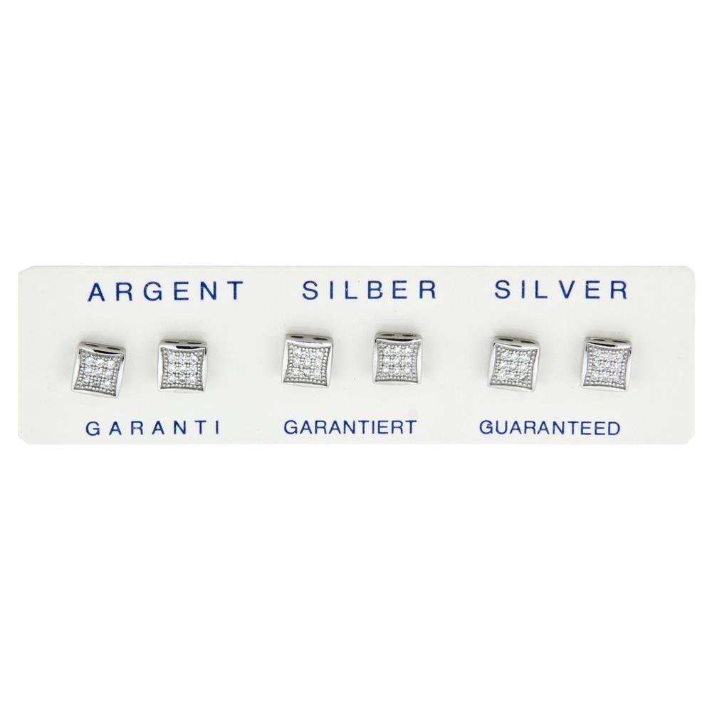 Paclo 11Z118IPER999 argento ag 925 Orecchini Galvanica Rodiata con Microsetting Zircone Bianco 05cm