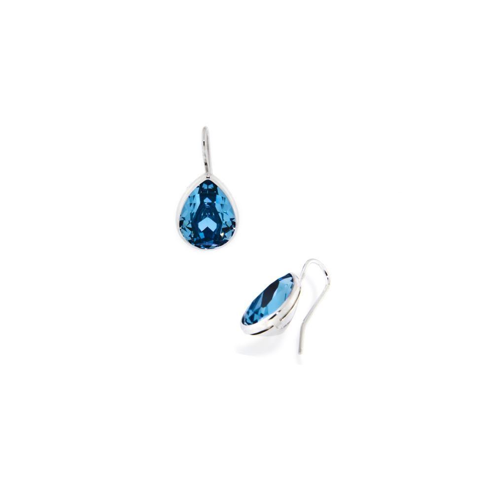 Paclo 14CYG1STER999 argento ag 925 Orecchini Galvanica Rodiata e Swarovski Crystals Aquamarine