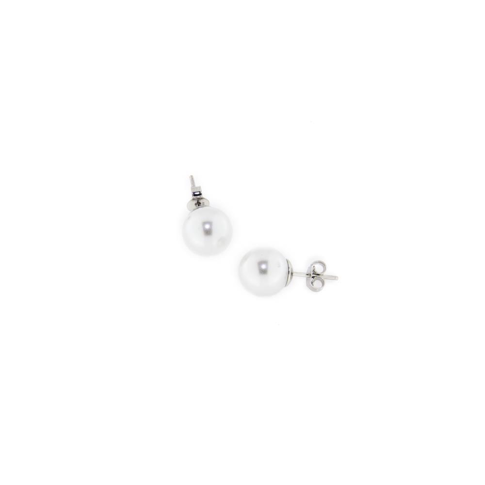 Paclo 14PE25CYER999 argento ag 925 Orecchini Galvanica Rodiata Perle sintetiche 10mm