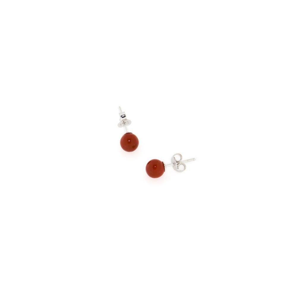 Paclo 14PE28CYER999 argento ag 925 Orecchini Galvanica Rodiata Perle sintetiche Rosse 6mm