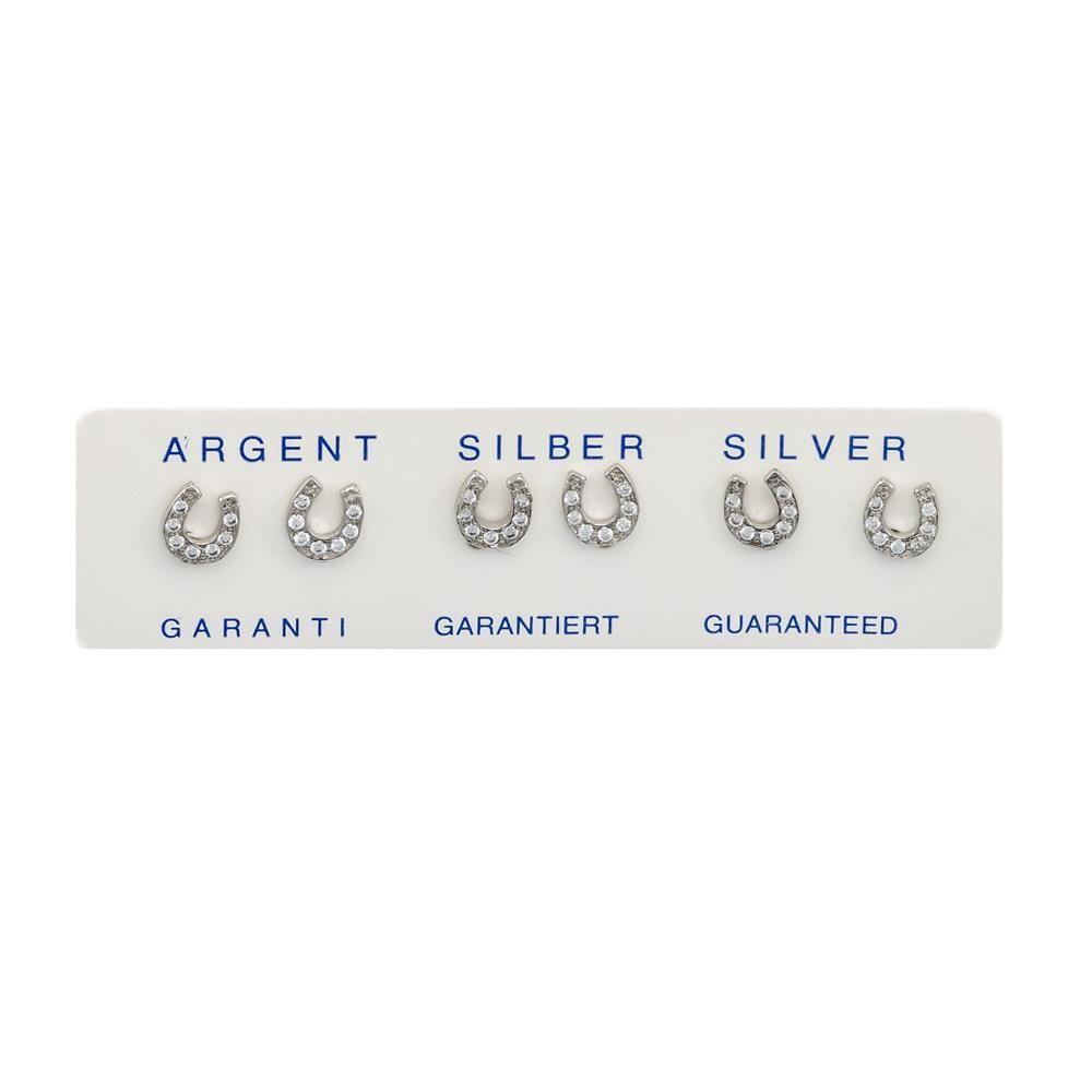 Paclo 16Z019IPER999 argento ag 925 Orecchini Galvanica Rodiata Zircone Bianco Fortuna 05cm
