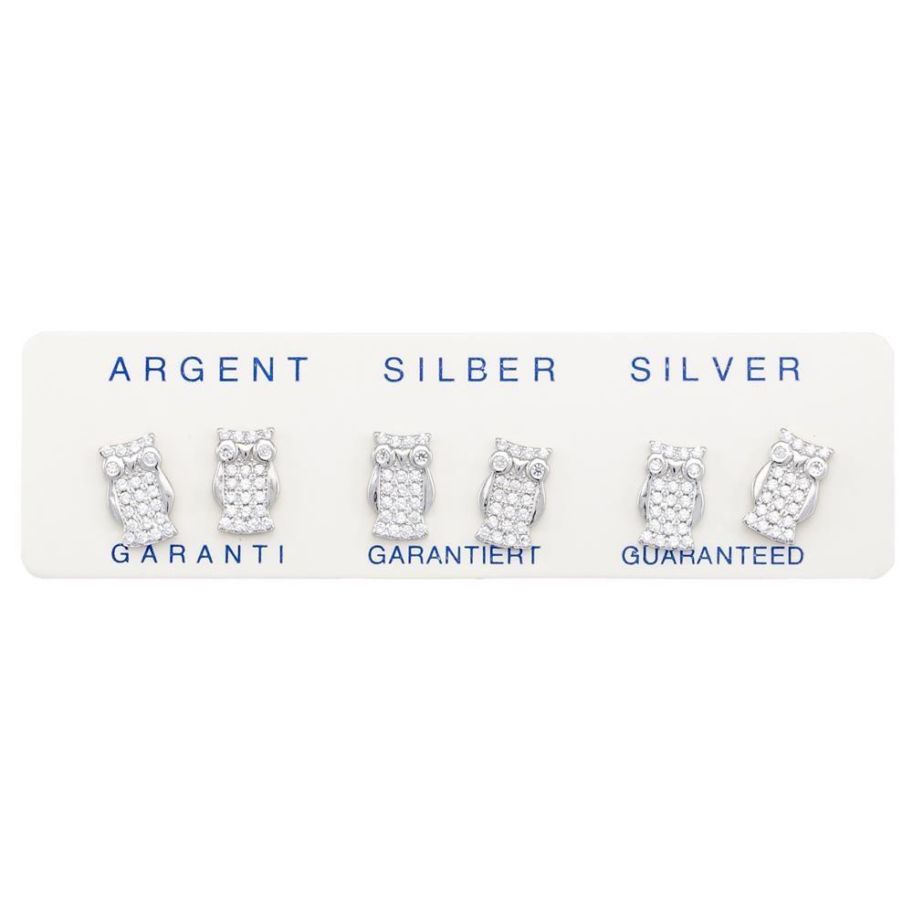 Paclo 16Z040IPER999 argento ag 925 Orecchini Galvanica Rodiata Zircone Bianco Gufo 1cm