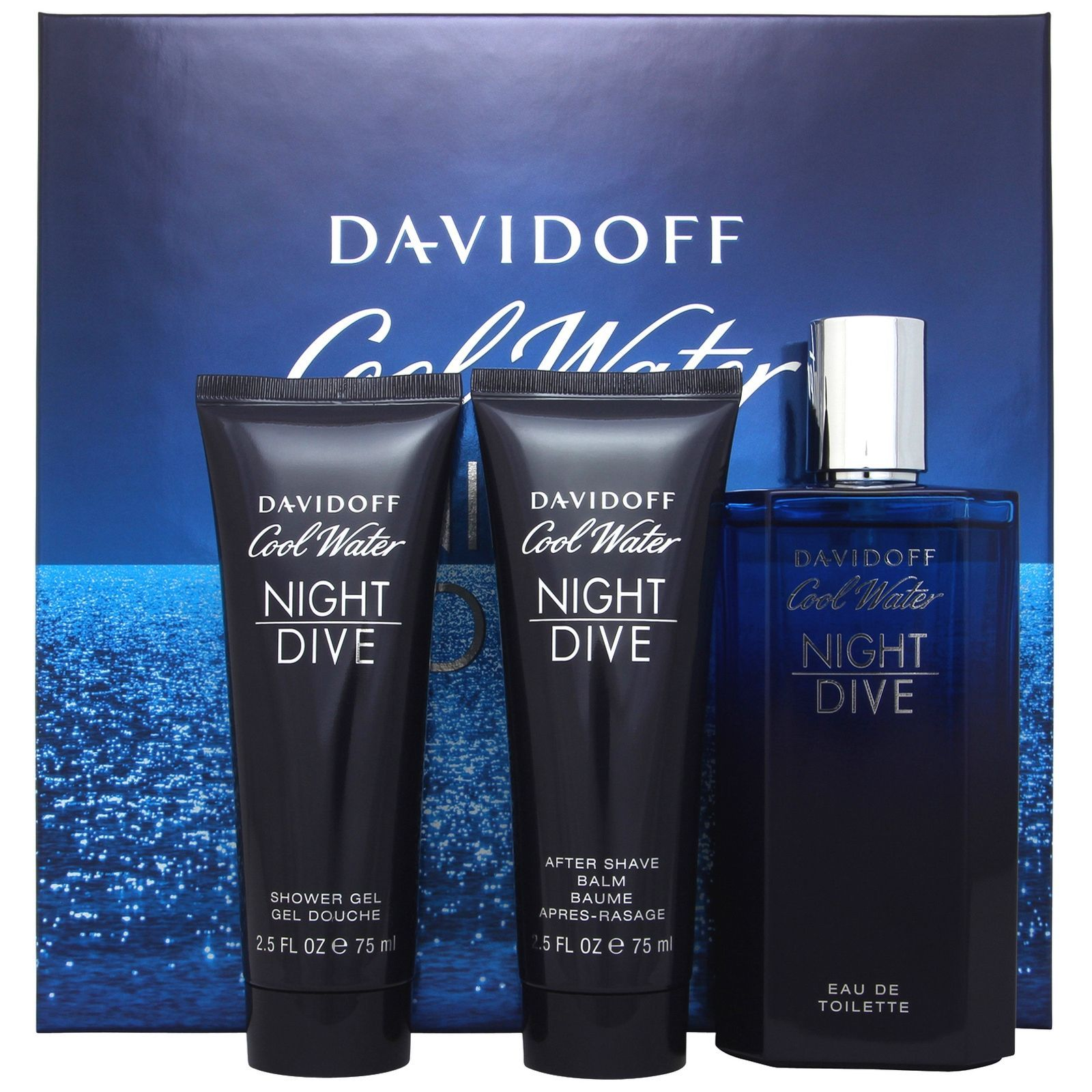Davidoff Cool Water Night Dive Confezione Regalo 125ml EDT  75ml Gel Doccia   75ml Balsamo Dopobarba