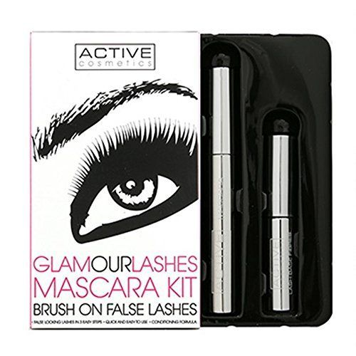 Active Cosmetics Glamour Lashes Mascara Kit 84ml Mascara Nero  45ml Primer Ciglia con Fibre