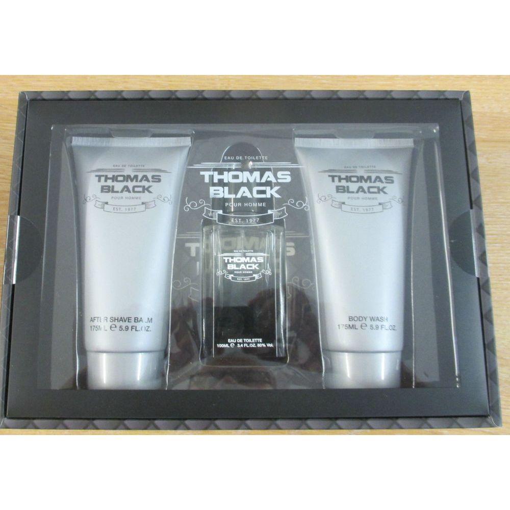 Laurelle Thomas Black Confezione Regalo 100ml EDT Spray  175ml Bagnoschiuma  175ml Balsamo Dopobarba