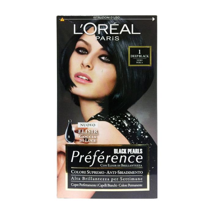 LOreal Paris  Tinta per capelli colore permanente preference black pearls n1 deep black