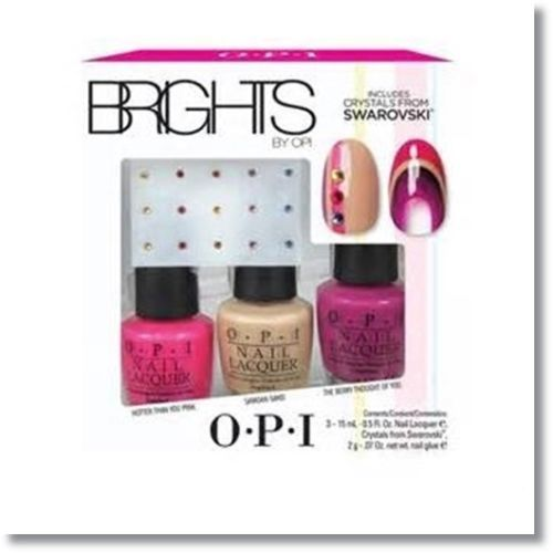 OPI Nail Polish Brights Confezione Regalo 15 ml Hotter Than You Pink  15 ml Samoan Sand  15 ml The Berry Thought of You  Cristalli Swarovski  2 g Colla per Unghie