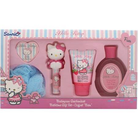 Hello Kitty Boutique Confezione Regalo 50ml Lozione Corpo  100ml Gel da Bagno  20g Saponi da Bagno  45g Balsamo Labbra  Spugna