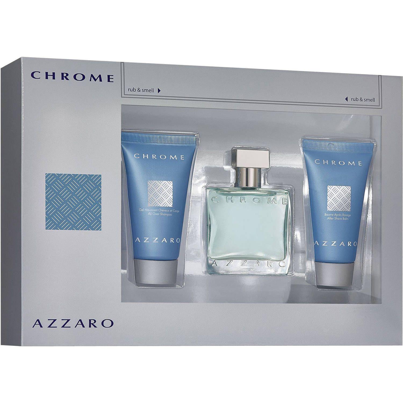 Azzaro Chrome Confezione Regalo 100 ml EDT  75 ml Balsamo Dopobarba  75 ml All Over Shampoo