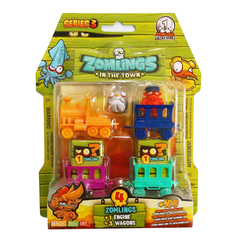 Zomlings serie 3 incl 4 personaggi 3 vagoni e 1 locomotiva