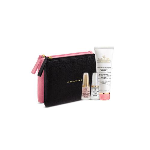 Collistar Cofanetto crema mani unghie idratante express 100 ml  smalto effetto gel rosa romantica  3in1 baserafforzatorefissatore  pochette piquadro