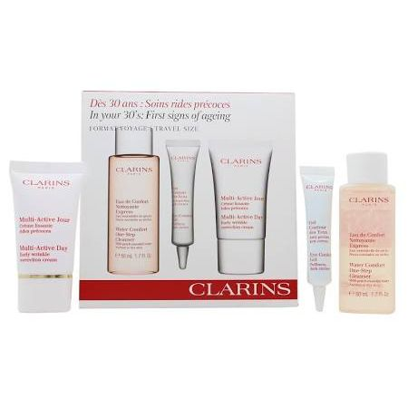Clarins In Your 30s First Signs Of Aging Confezione Regalo 50ml Water Comfort OneStep Detergente  10ml Gel Contorno Occhi  15ml MultiActive Day Wrinkle Crema Giorno