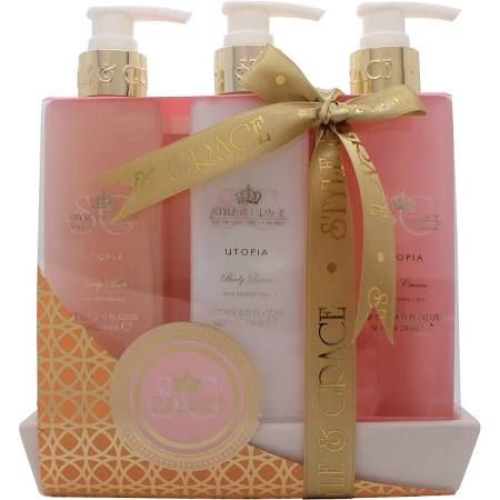 Style  Grace Utopia Bathroom Collection Confezione Regalo 250ml Bagnoschiuma  250ml Lozione Corpo  250ml Scrub Corpo