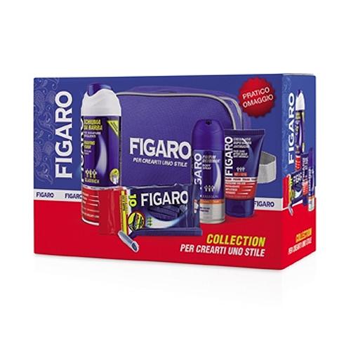 Figaro  Cofanetto classico  schiuma da barba  crema viso dopobarba  parfum deodorant  rasoi usa e getta  pochette