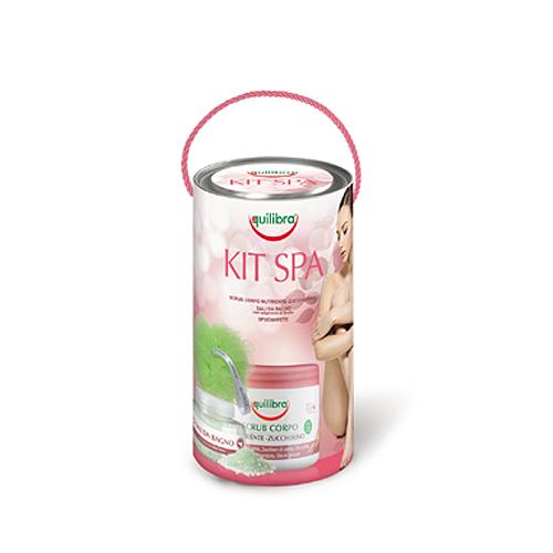Equilibra  Cofanetto spa experience  scrub copro nutriente 550 g  sali da bagno 250 g  spugnarete coordinata