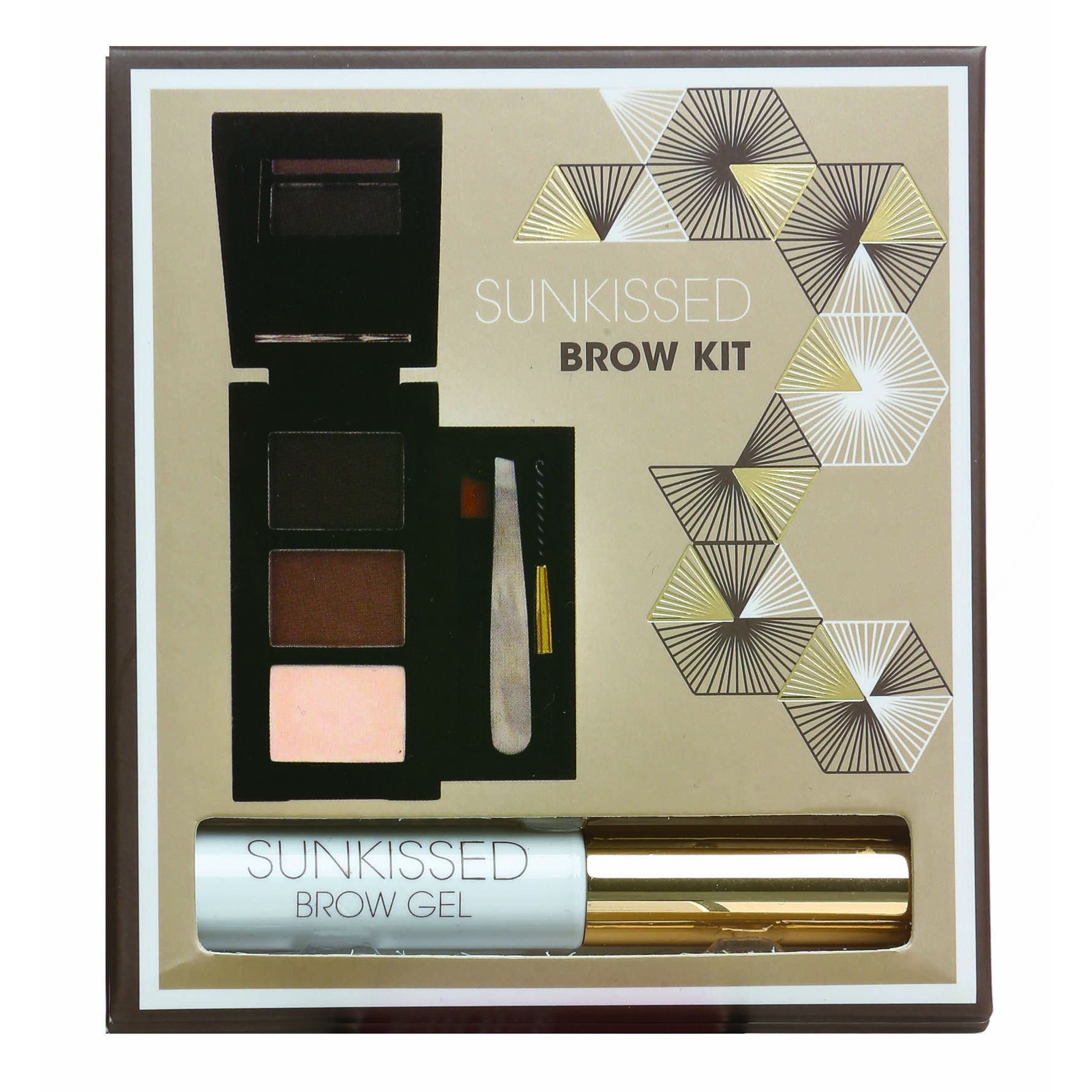 SUNkissed Brow Kit Confezione Regalo 2 x Polvere Compatta per Sopracciglia  Highlighter  Gel per Sopracciglia  Pinzetta