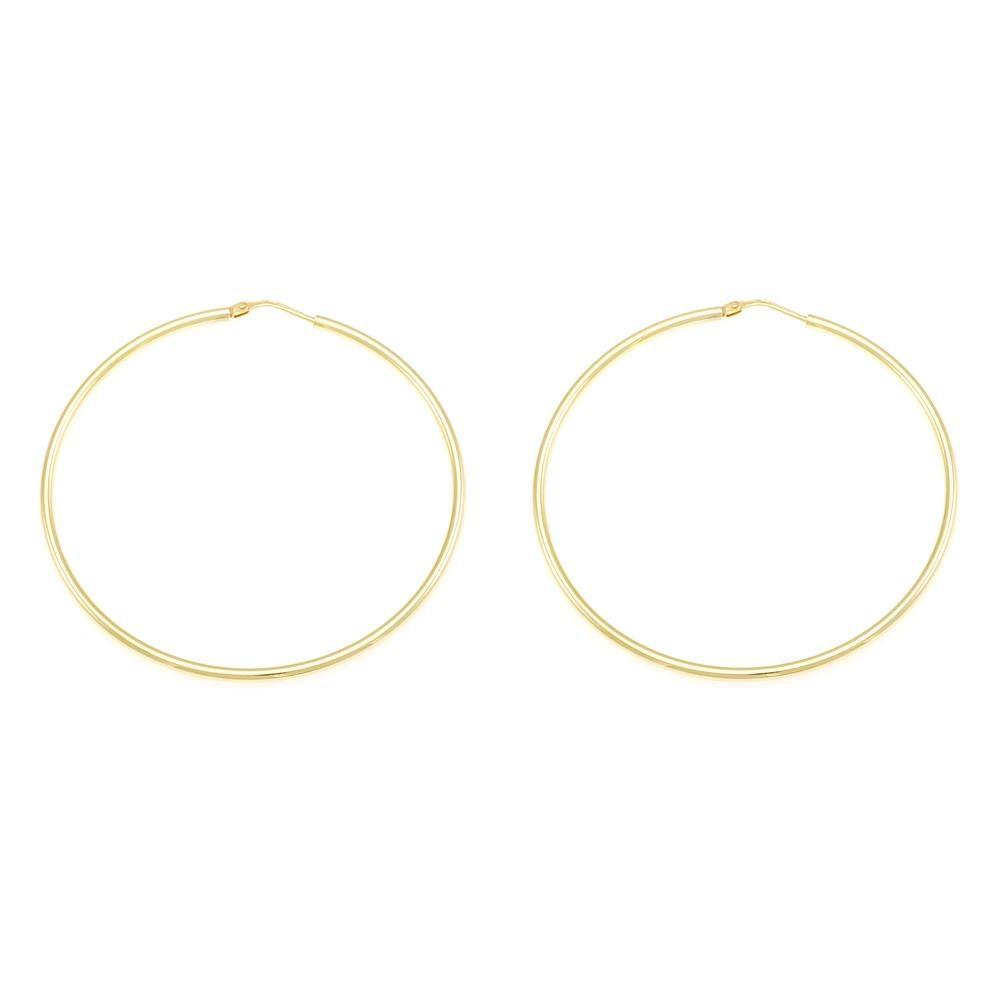 Paclo 10CR53CLFD999 argento ag 925 Orecchini a cerchio Galvanica Dorata 55cm