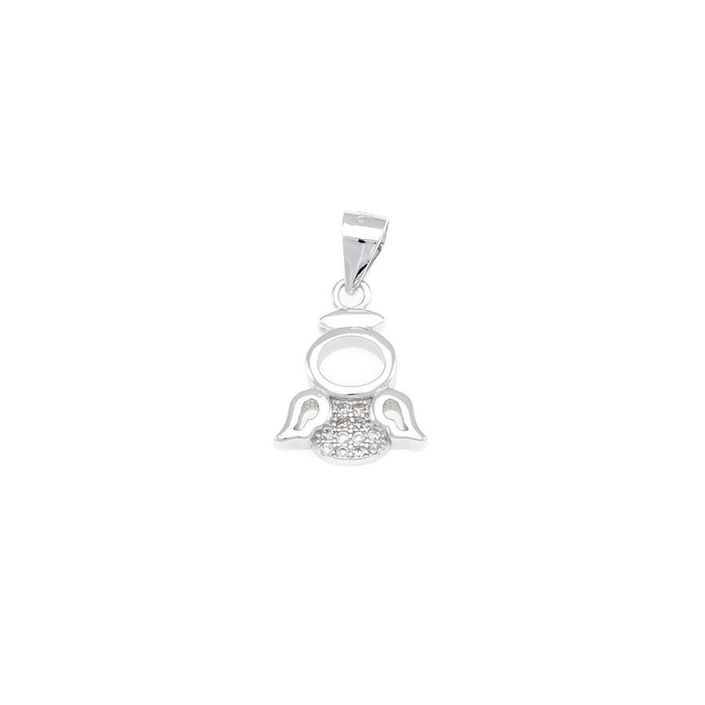 Paclo 16AN08REPR999 argento ag 925 Pendente Galvanica Rodiata Zircone Bianco Angelo 1cm