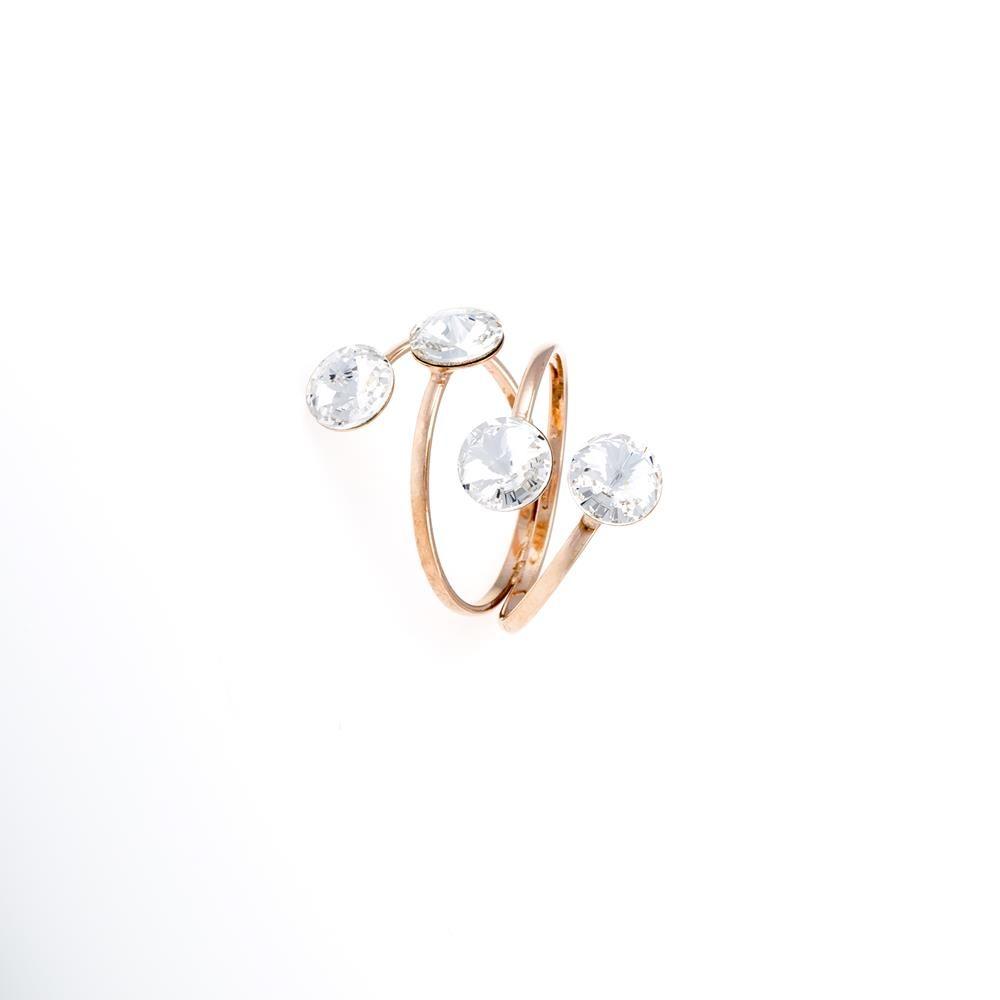Paclo 16C037STRP99A argento ag 925 Anello Anello Regolabile Galvanica Rose e Swarovski Crystals Crystal