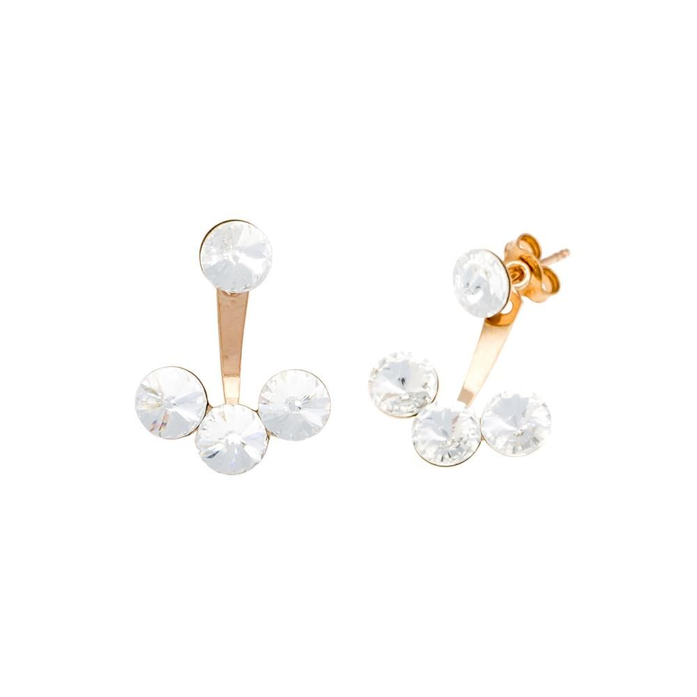 Paclo 16C040STEP999 argento ag 925 Orecchini Galvanica Rose e Swarovski Crystals Crystal 2cm