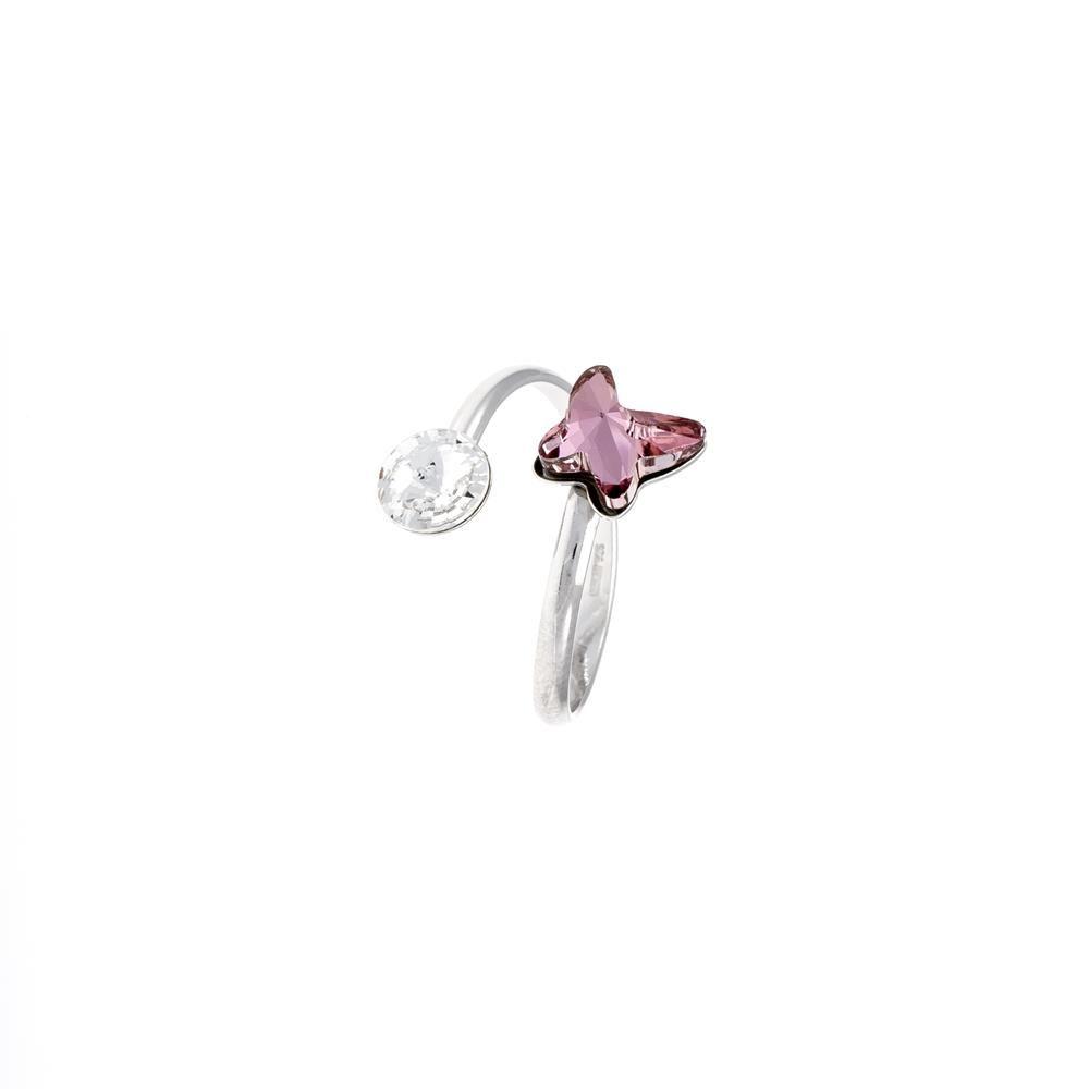 Paclo 16C041STRR99A argento ag 925 Anello Anello Regolabile Galvanica Rodiata e Swarovski Crystals Multicolor