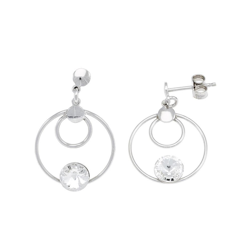 Paclo 16C043STER999 argento ag 925 Orecchini Galvanica Rodiata e Swarovski Crystals Crystal 2cm