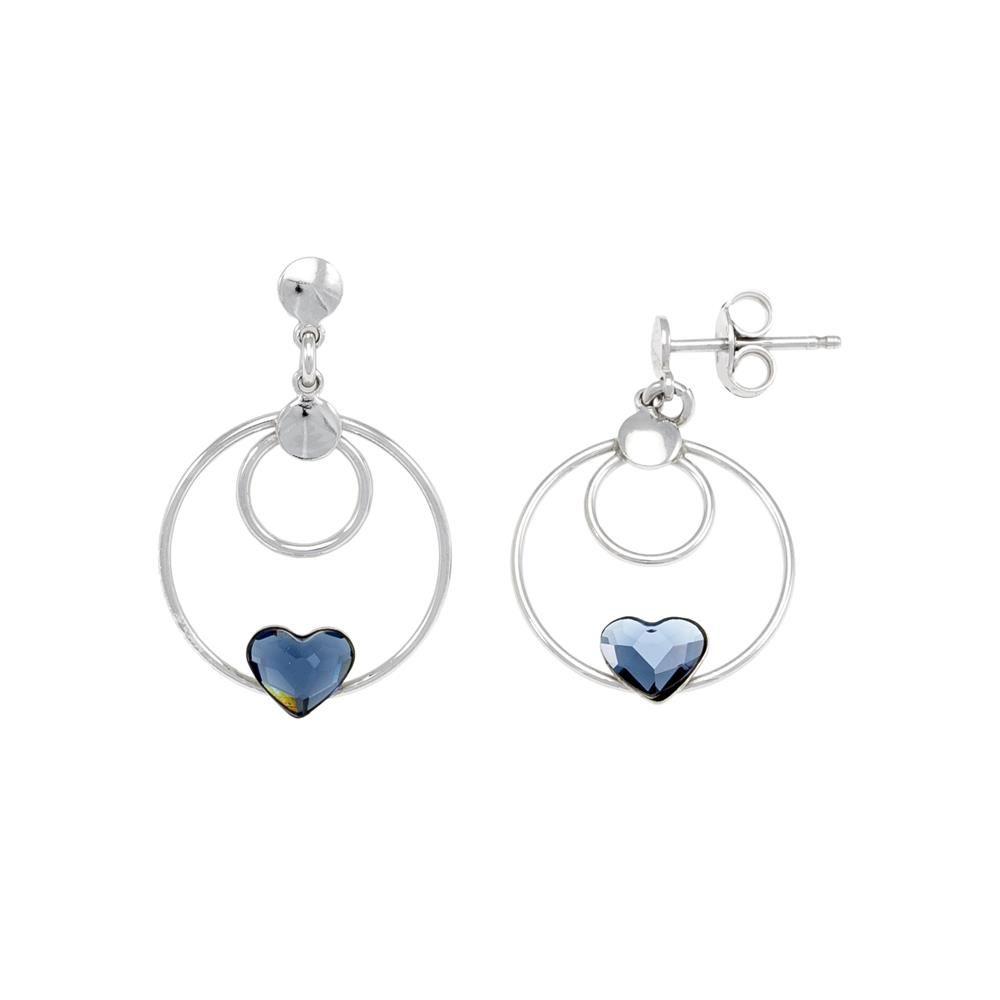 Paclo 16C045STER999 argento ag 925 Orecchini Galvanica Rodiata e Swarovski Crystals Denim Blue 2cm