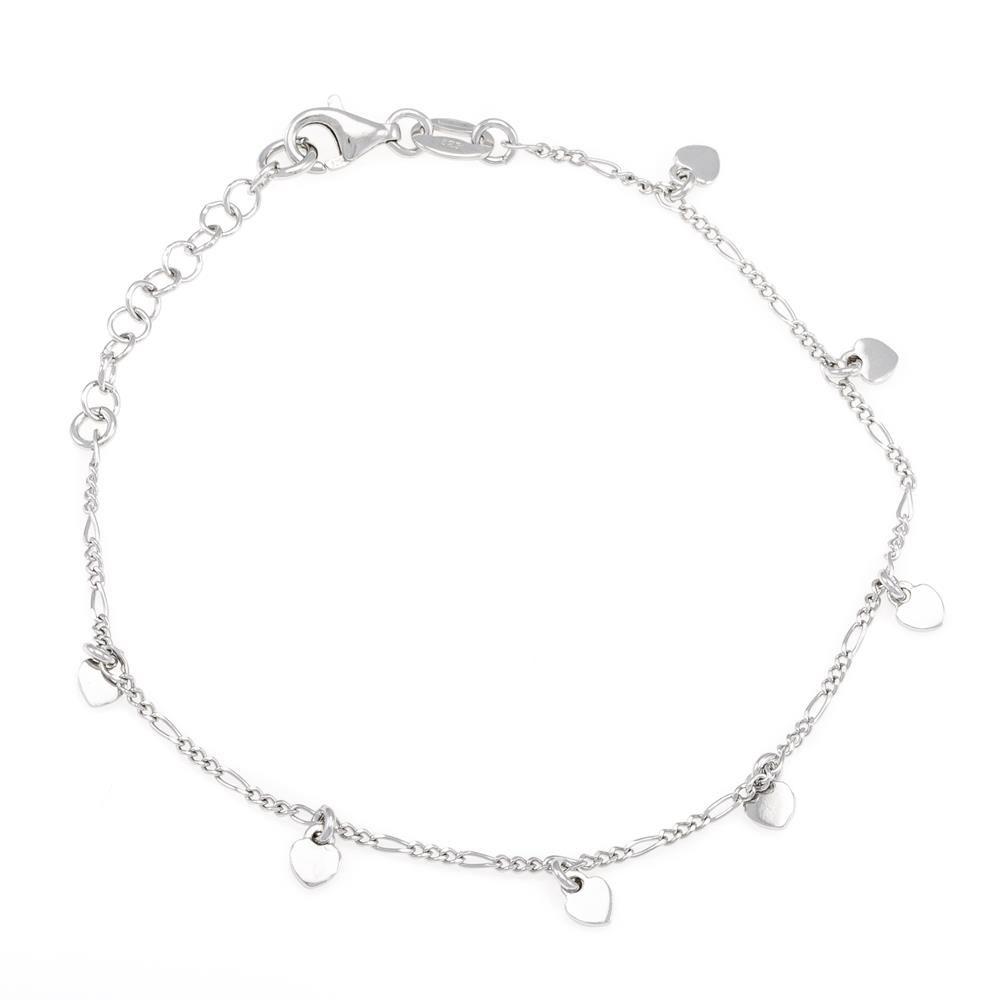Paclo 16C046LIBR999 argento ag 925 Bracciale Galvanica Rodiata Cuore 17 piu 3cm
