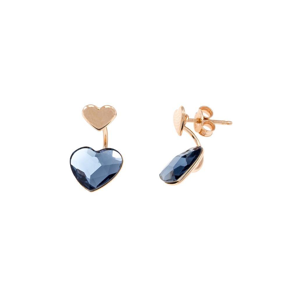 Paclo 16C049STEP999 argento ag 925 Orecchini Galvanica Rose e Swarovski Crystals Denim Blue 2cm