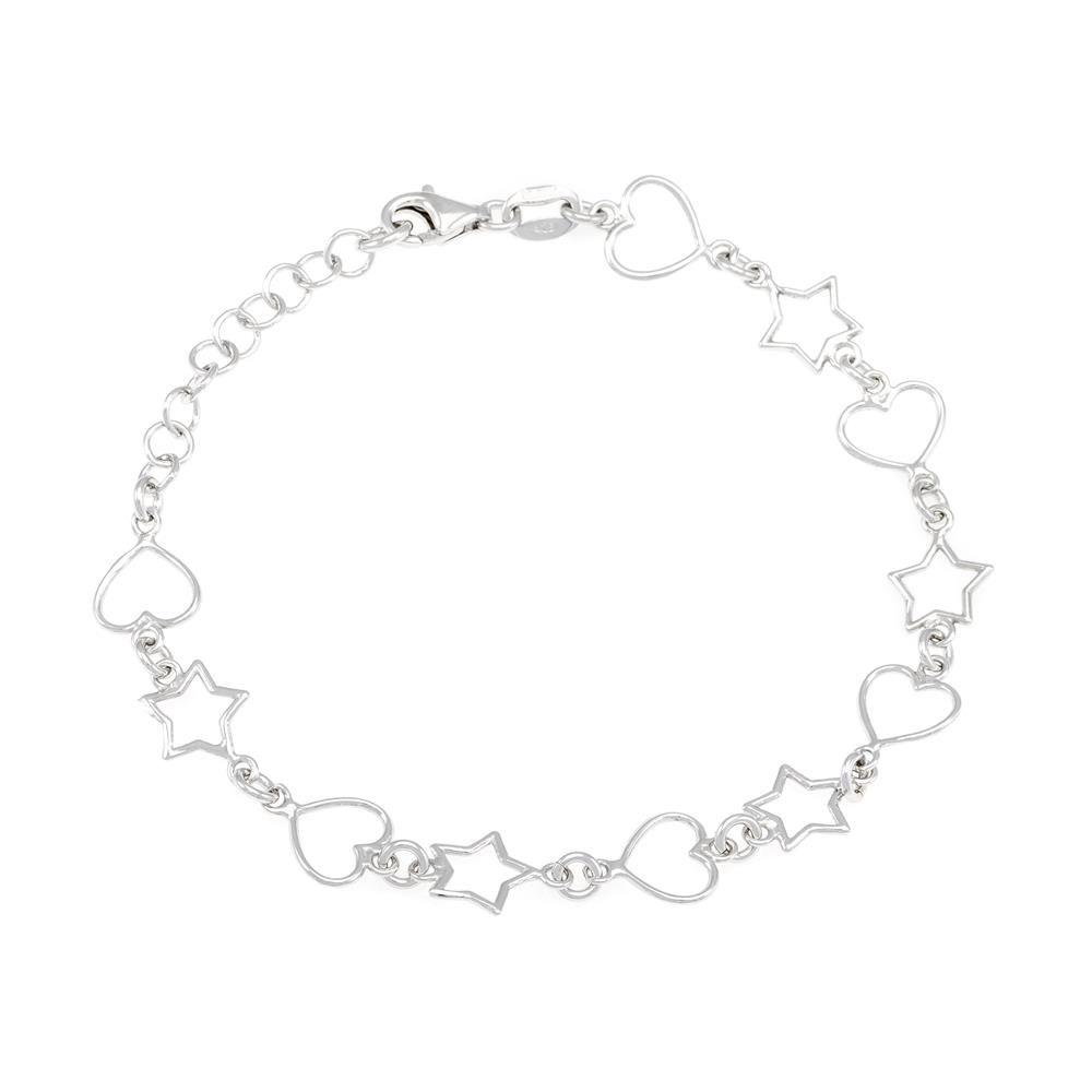 Paclo 16C051LIBR999 argento ag 925 Bracciale Galvanica Rodiata Cuore e Stelle 17 piu 3cm