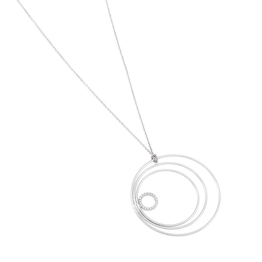 Paclo 16C053IPNR999 argento ag 925 Collana Galvanica Rodiata Zircone Bianco Cerchio N78 piu 5cm P45cm