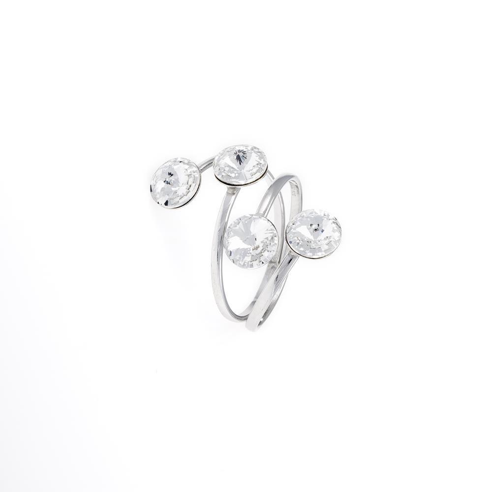 Paclo 16C054STRR99A argento ag 925 Anello Anello Regolabile Galvanica Rodiata e Swarovski Crystals Crystal