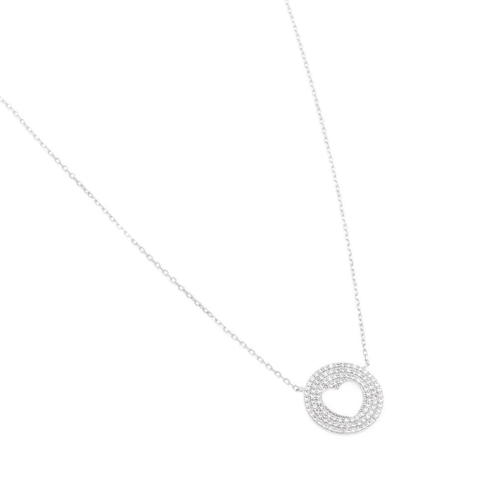 Paclo 16C057IPNR999 argento ag 925 Collana Galvanica Rodiata con Microsetting Zircone Bianco Cuore 42 piu 3cm