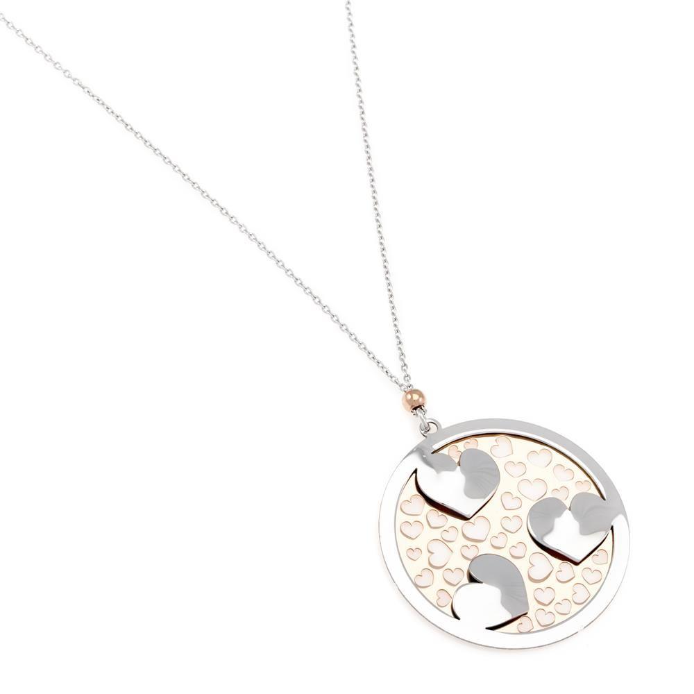 Paclo 16C057LINP999 argento ag 925 Collana Galvanica Rose Cuore 80cm