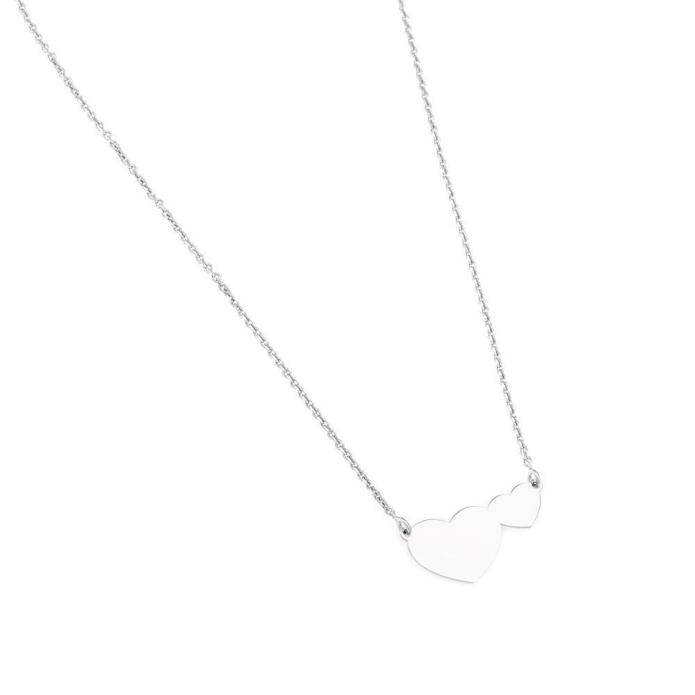 Paclo 16C058LINR999 argento ag 925 Collana Galvanica Rodiata Cuore 40 piu 5cm