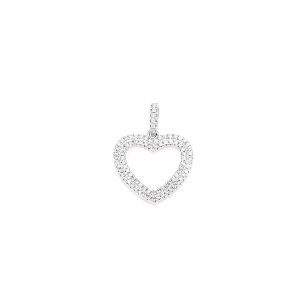 Paclo 16C059IPPR999 argento ag 925 Pendente Galvanica Rodiata con Microsetting Zircone Bianco Cuore 25cm
