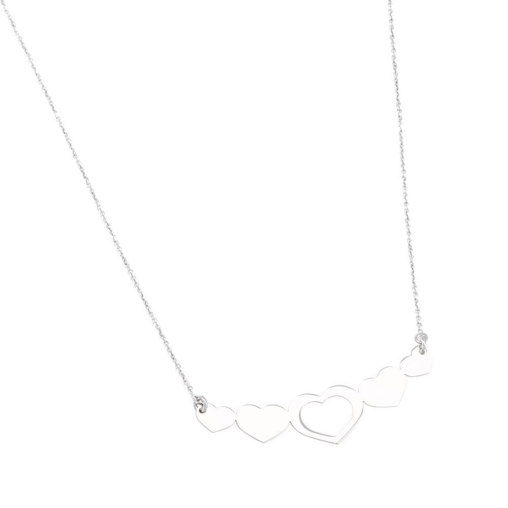 Paclo 16C060LINR999 argento ag 925 Collana Galvanica Rodiata Cuore 42 piu 3cm