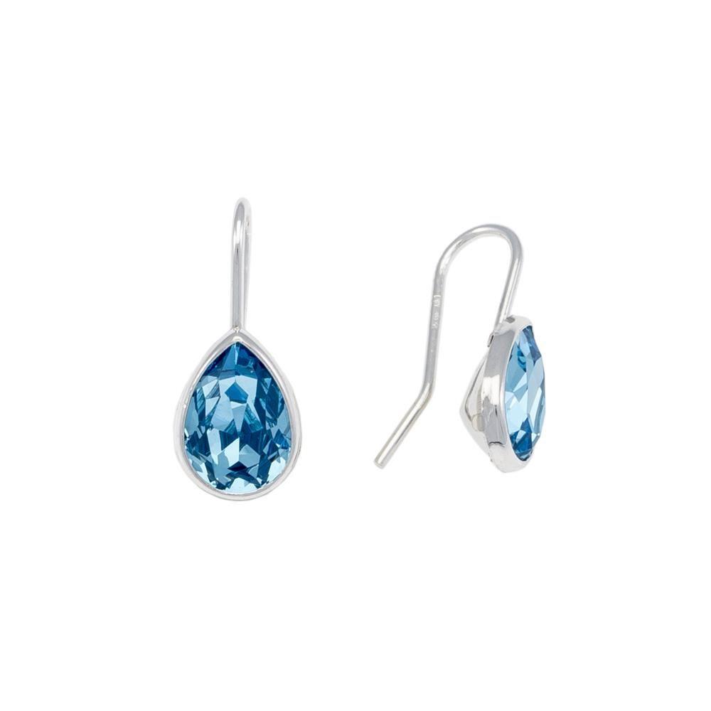 Paclo 16C060STER999 argento ag 925 Orecchini Galvanica Rodiata e Swarovski Crystals Blue 2cm