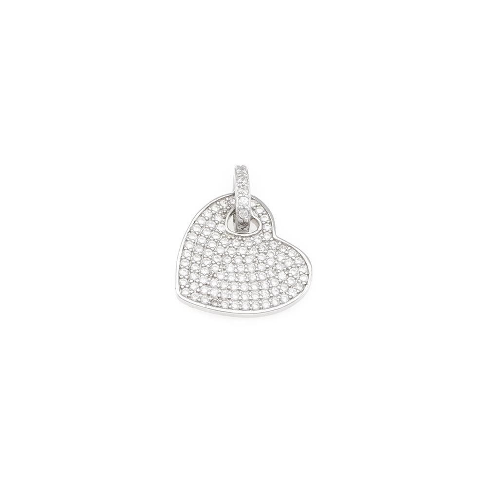 Paclo 16C063IPPR999 argento ag 925 Pendente Galvanica Rodiata con Microsetting Zircone Bianco Cuore 2cm