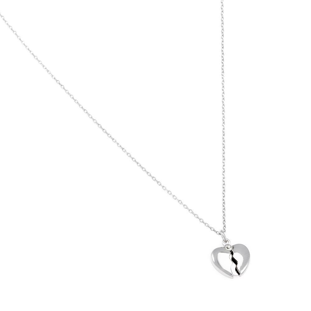 Paclo 16C064LINR999 argento ag 925 Collana Galvanica Rodiata Cuore 40 piu 5cm