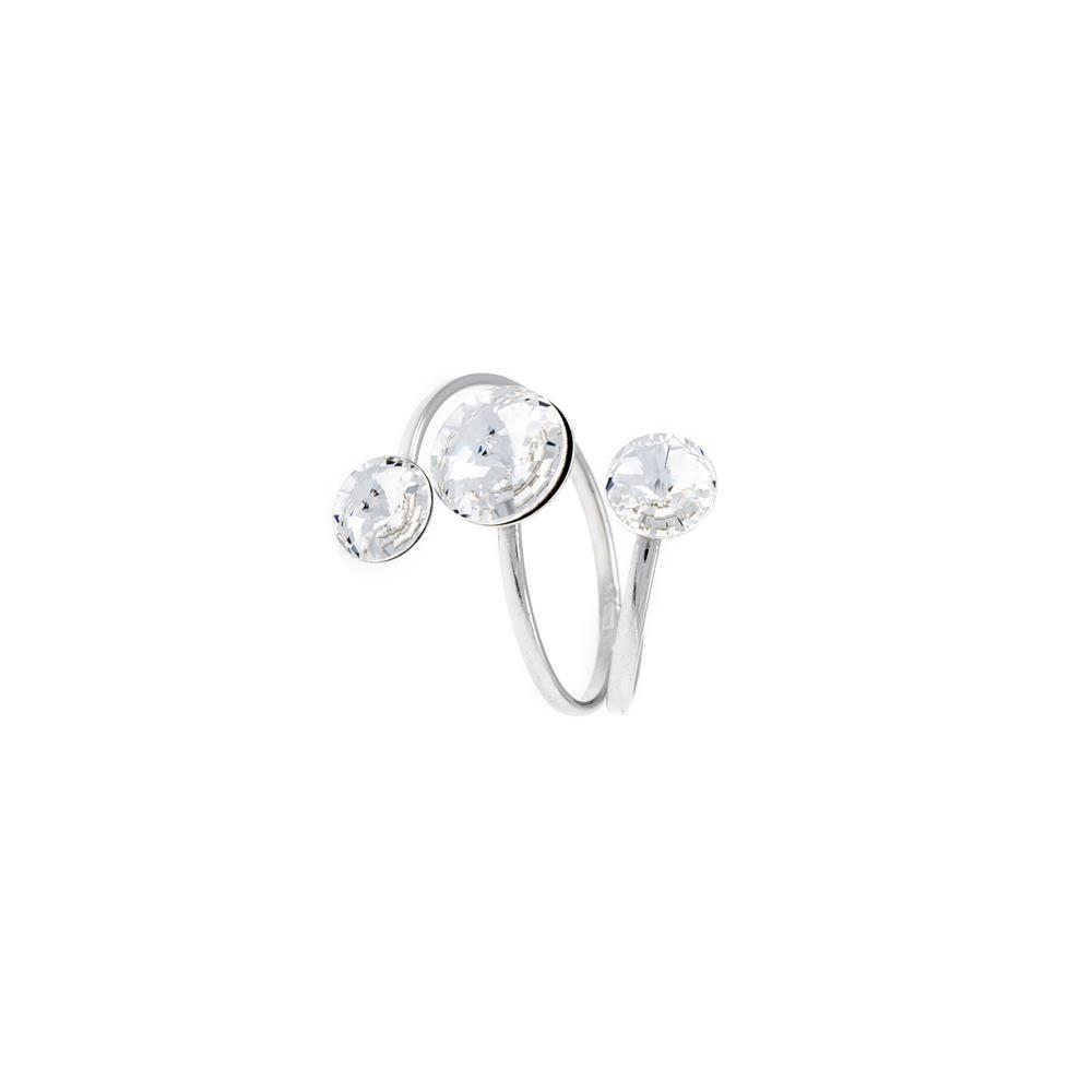 Paclo 16C064STRR99A argento ag 925 Anello Anello Regolabile Galvanica Rodiata e Swarovski Crystals Crystal