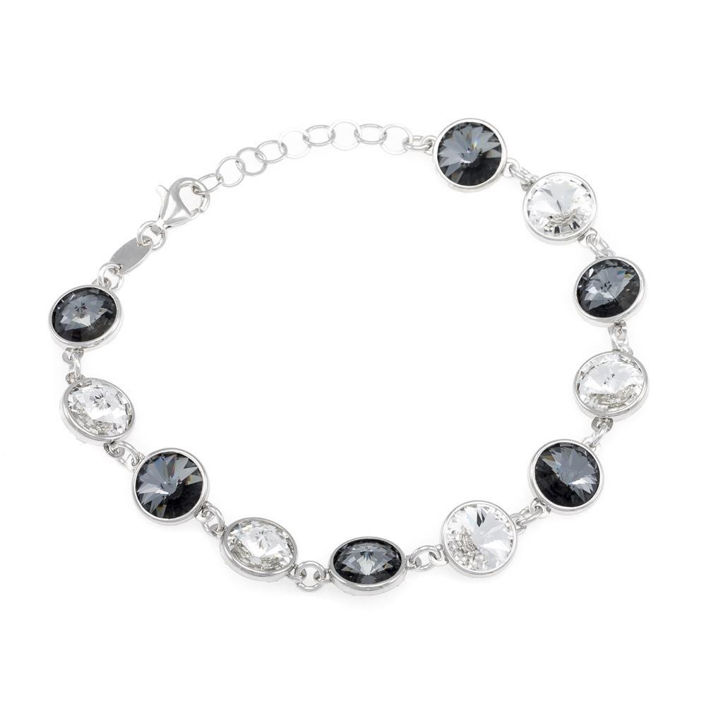 Paclo 16C065STBR999 argento ag 925 Bracciale Galvanica Rodiata e Swarovski Crystals Multicolor 16 piu 3cm