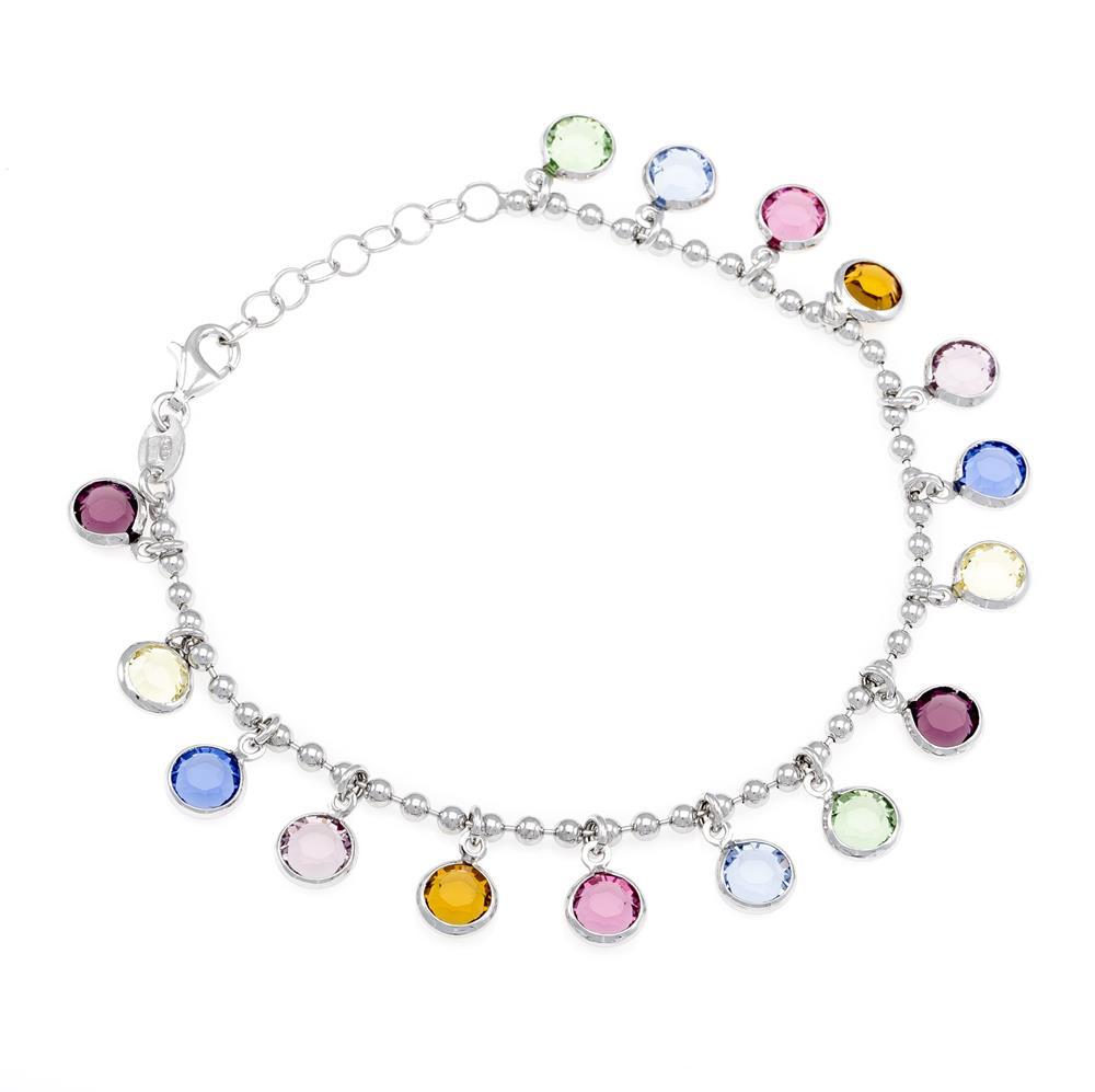 Paclo 16C068STBR999 argento ag 925 Bracciale Galvanica Rodiata e Swarovski Crystals Multicolor 17 piu 3cm